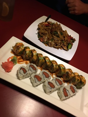 Drunken Noodle dish with Alaska Roll and Spicy Tuna